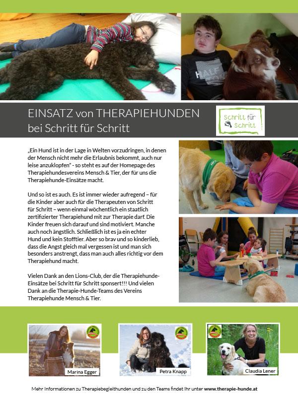 Schritt für Schritt Therapiehunde Infofolder